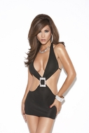 Deep V mini dress with rhinestone buckle 8559