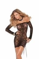 Diamond Pattern Bandeau Dress with Gloves