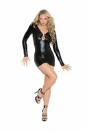 Elegant Moments 8309 Wet Look Mini Dress to 3X