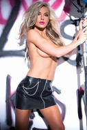 Faux Leather Chains of Pleasure Skirt 13-5402