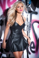 Faux Leather Flirty Mini Dress  17-9502