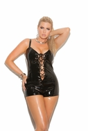 Elegant Plus Size V7108X  Lace up front vinyl romper