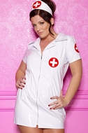 Latex and Leather Lingerie Plus Size Nurse Costume  18-1007X