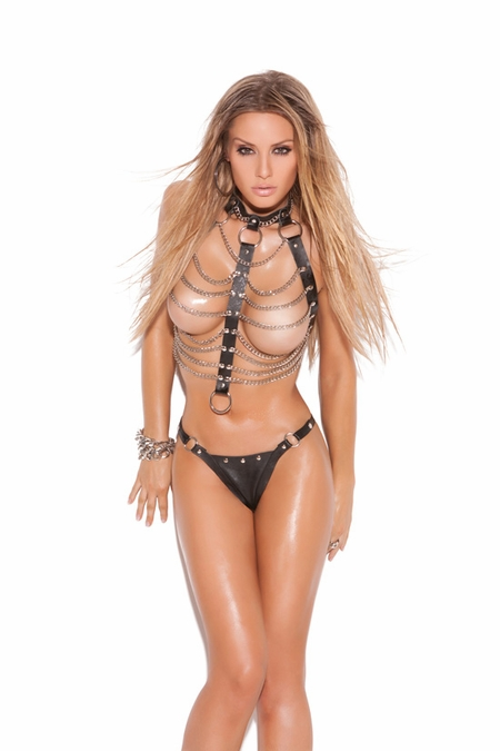 Leather and Chain Lingerie Vest