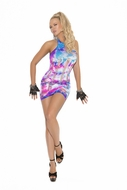 Neon tie dye mini dress with pothole detail  8921