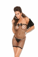 Net Bandeau Dress with Satin Bows