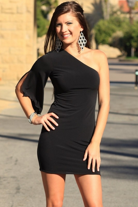 One Shoulder Hot Mini Dress