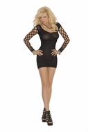 Opaque Mini Dress with Diamond Net Sleeves 1506
