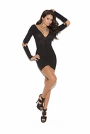 Opaque mini dress with gartered long sleeves  8019