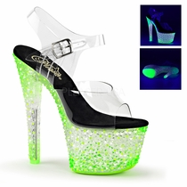 Pleaser CRYSTALIZE-308PS Neon UV Reactive Sandals