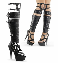 Pleaser Delight-600-50 Over-the-Knee Gladiator Sandal Boot Size 8