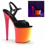 "Pleaser RAINBOW-809UV Exotic Dancer 8"" UV Platform Heels"