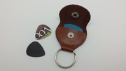Leather Guitar Pick Holder Key Chain Saddle Shape