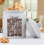 Antique Style Personalized Family Rules Cookie Jar