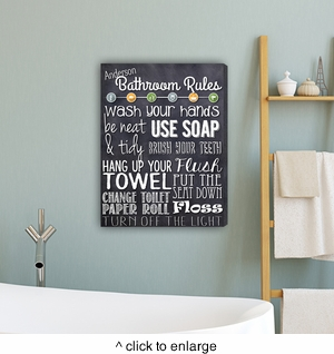 Bathroom Rules Canvas Print - click to enlarge