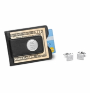 Black Leather Wallet and Cufflinks Gift Set