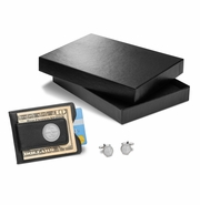 Circle Monogram - Black Leather Wallet & Money Clip with Cufflinks Gift Set