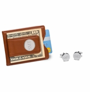 Personalized Brown Leather Wallet and Cufflinks Gift Set