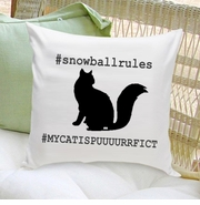 Cat Silhouette Throw Pillow - Hashtag