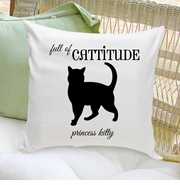 Cat Silhouette Throw Pillow -  Script