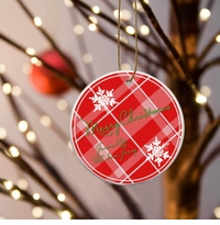Christmas Ceramic Ornament - Red Plaid