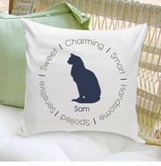Circle of Love Cat Silhouette Throw Pillow - Smokey Blue