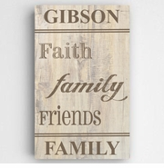 Family and Faith Rustic Canvas Sign