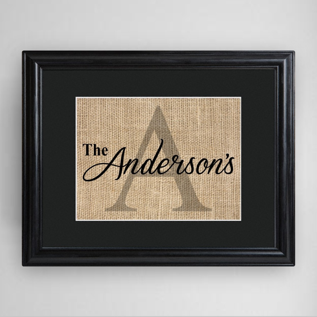 Initial Home Decor: Family Name & Initial Personalized Framed Print Burlap
