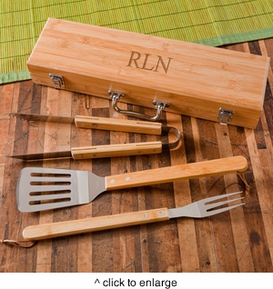 Personalized Grilling BBQ Set with Bamboo Case