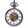 Gunmetal Gray Exposed Gears Pocket Watch - click to enlarge