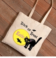 Halloween Black Cat Trick-or-Treat Canvas Bag