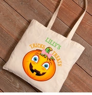 Halloween Girl Pumpkin Trick -or-Treat Canvas Bag