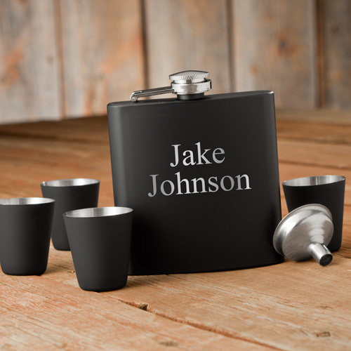 Matte Black Flask & Shot Glass Gift Box Set