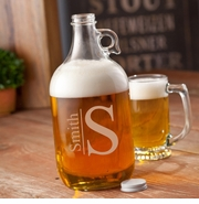 Monogrammed Glass Beer Growler