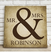 Mr & Mrs Burlap Canvas