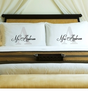 NEW Couples Initial Pillow Case Set