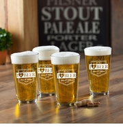 New Personalized Pub Glass Set -  I Love Beer