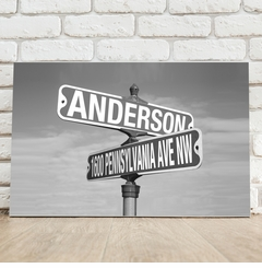 Personalized Black and White Street Sign Canvas
