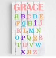 Personalized Colorful Kids Canvas Sign-ABC's