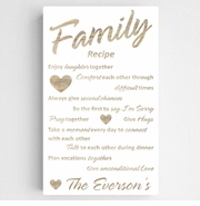 Personalized Family Recipe Canvas Sign-Chic White w/Wood Lettering