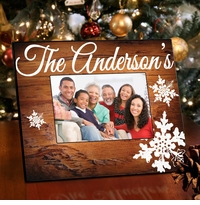 Family Snowflake Picture Frame - Rosewood