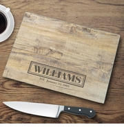 Personalized Glass Cutting Boards - Wood Background
