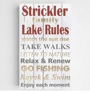 Personalized Lake Rules Canvas Sign-White Background
