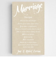 Personalized Marriage Recipe Canvas Sign-Chic Linen Finish