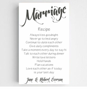Personalized Marriage Recipe Canvas Sign-White
