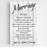 Personalized Marriage Recipe Canvas Sign-White Wood
