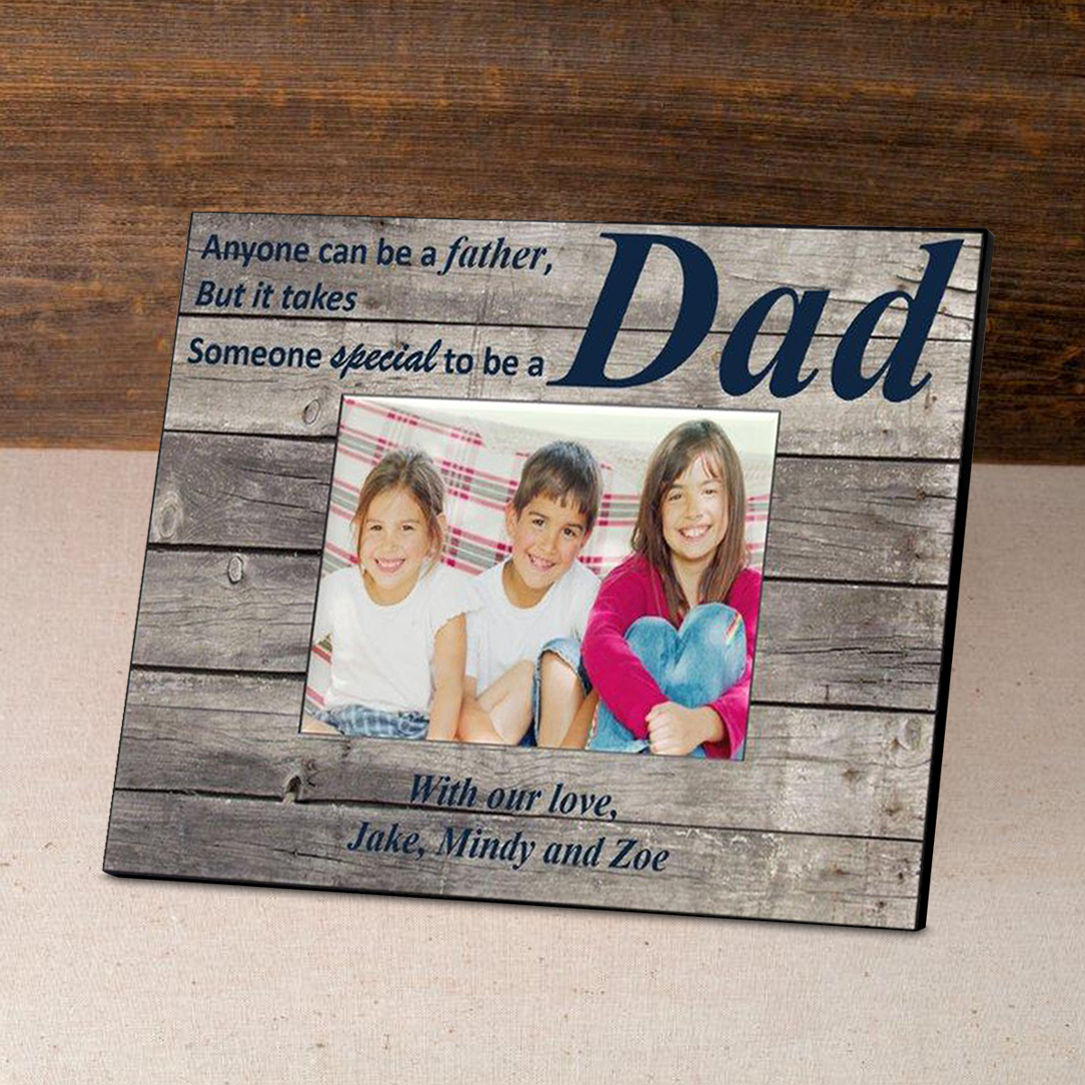 Personalized Father's Day Frame-Navy Barnwood