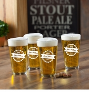 New Personalized Pub Glass Set - Bottle Top