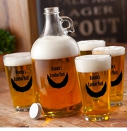 Personalized Printed Chin Curtain Beard Growler Set