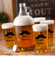 Personalized Printed Classic Mustache Growler Set